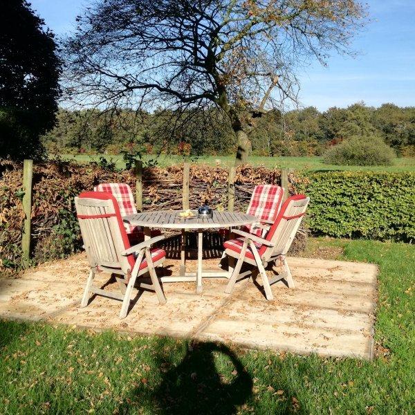 ruime tuin met uitzicht bij bnb vakantiehuisje molenbergh drenthe
