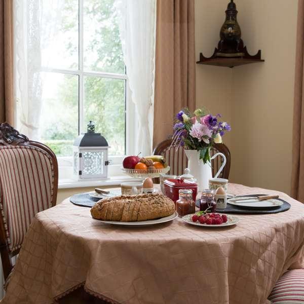 uitzicht eetkamer bij bed breakfast vakantiehuisje molenbergh drenthe