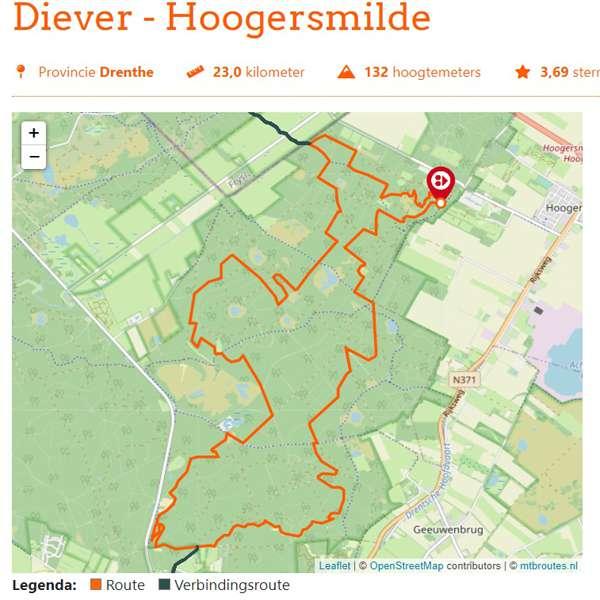 Diever Hoogersmilde mountainbikeroute