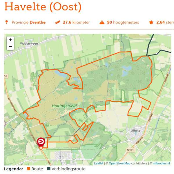 Havelte Oost mountainbikeroute