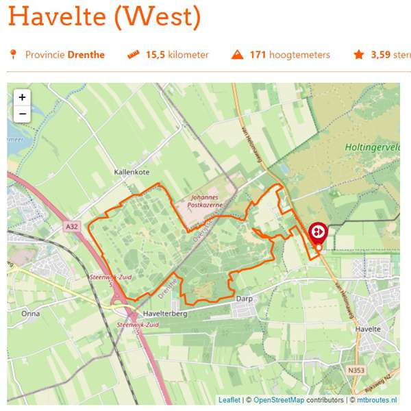 Havelte West mountainbikeroute