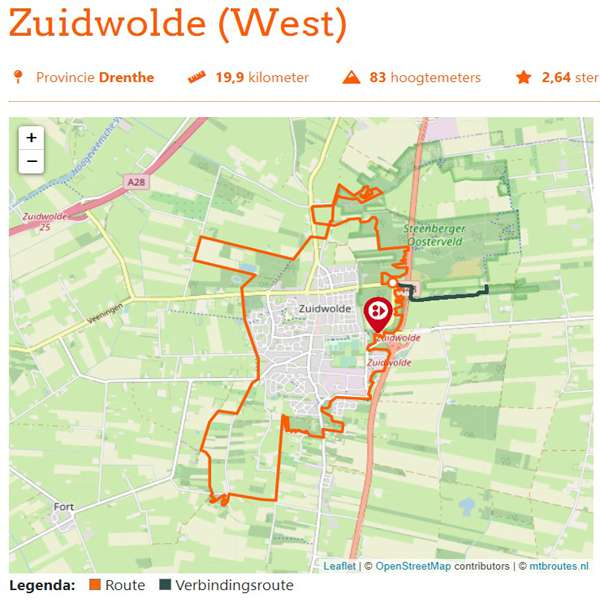 Zuidwolde West mountainbikeroute